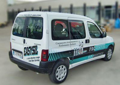 Частично облепване на фирмен автомобил на Proventuss с продуктова реклама на EasySil