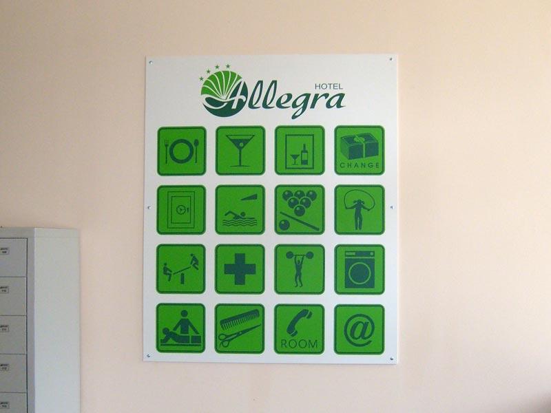 табела с пиктограми за услуги за хотел Allegra