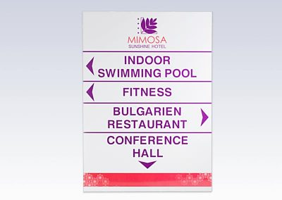 указателна табела, хотел MIMOSA