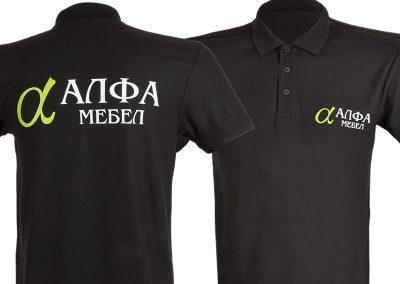 тениска със двуцветен ситопечат - Алфа мебел
