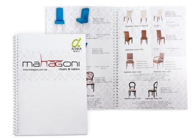 Рекламен каталог за мебели, подвързан с метална спирала