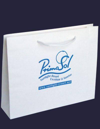бяла хартиена торбичка с надпис Primasol
